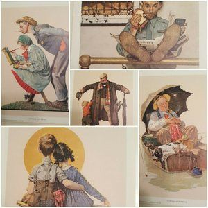 "LOT of 5 * 8x10"" NORMAN ROCKWELL* Litho Art Prints"